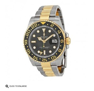 GMT-Master II Black Dial Stainless Steel and 18kt Yellow Gold Oyster Bracelet Automatic Men's Watch 116713BKSO