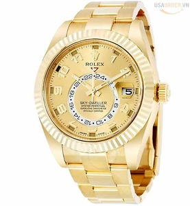 Sky Dweller Champagne Dial 18K Yellow Gold Oyster Bracelet Automatic