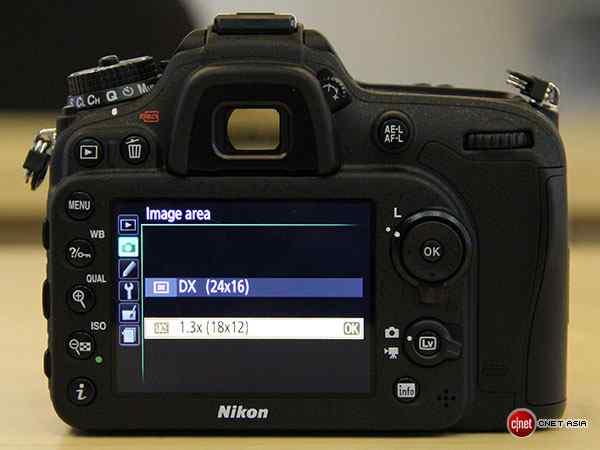 Có thể truy vào chế độ crop 1.3x của Nikon D7100