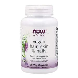 Viên Uống Hỗ Trợ cho Da, Móng, Tóc - NOW Solutions, Vegan Hair, Skin & Nails - 90 viên - Nhập Khẩu Mỹ