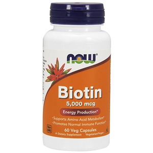 Viên Uống Hỗ Trợ Mọc Tóc NOW Biotin 5000mcg, 60 viên - Nhập Khẩu Mỹ