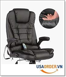 Mecor Heated Office Massage Ghế lưng bằng da PU cao cấp w / Điều chỉnh chiều cao và tay vịn 360 độ (Đen)