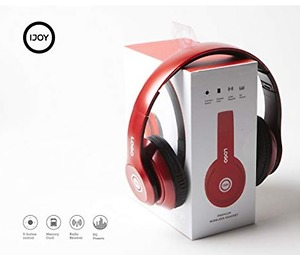 iJoy Matte Rechargeable Wireless Bluetooth Foldable Over Ear Headphones with Mic (RED)