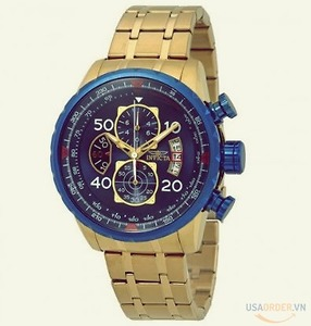 Aviator Chronograph Blue Dial 18kt Gold-plated Men's Watch