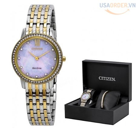 Silhouette Crystal White Mother of Pearl Dial Ladies Watch